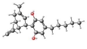 Cannabidiol (CBD) molecule 3D www.micannabislawyer.com