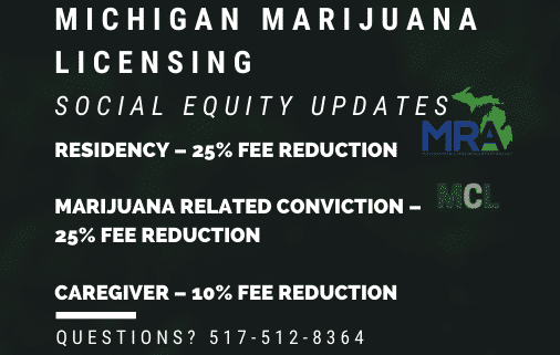 Michigan Marijuana Licencing MRA social equity program updates 2020 www.micannabislawyer.com